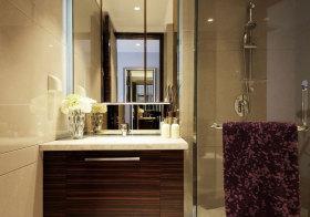 现代木纹浴室柜细节