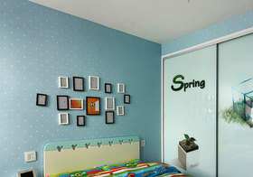 现代儿童房照片墙实景
