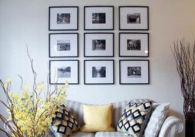 现代黑框照片墙细节