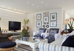 地中海蓝框照片墙欣赏