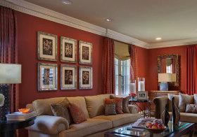 美式红色照片墙实景
