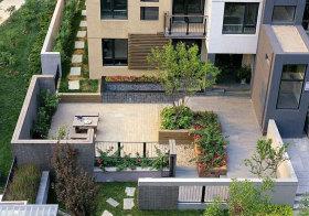 现代别墅花园俯拍