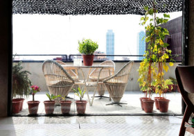 中式藤椅花园美图