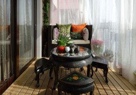 中式圆桌阳台设计