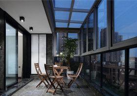 混搭木质阳台晚景