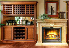 美式壁炉酒柜设计