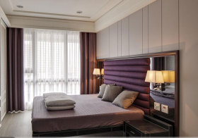 简欧紫色床头软包设计