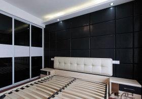 现代黑色床头软包设计