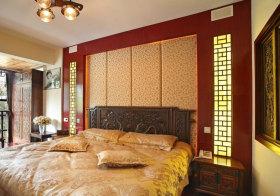 中式碎花床头软包实景
