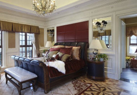 欧式酒红方块床头软包实拍