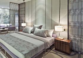 中式白色长条床头软包欣赏