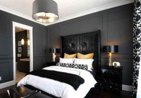 欧式黑色带孔床头软包设计