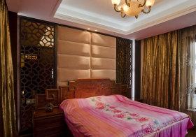中式米色双排方块床头软包实景