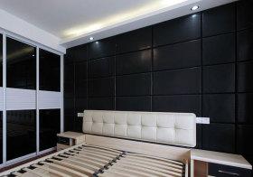 欧式黑色方块全墙床头软包实拍