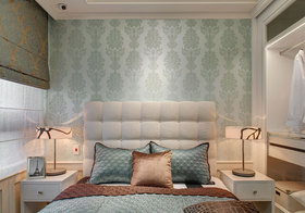 简欧蓝色图案床头软包实景