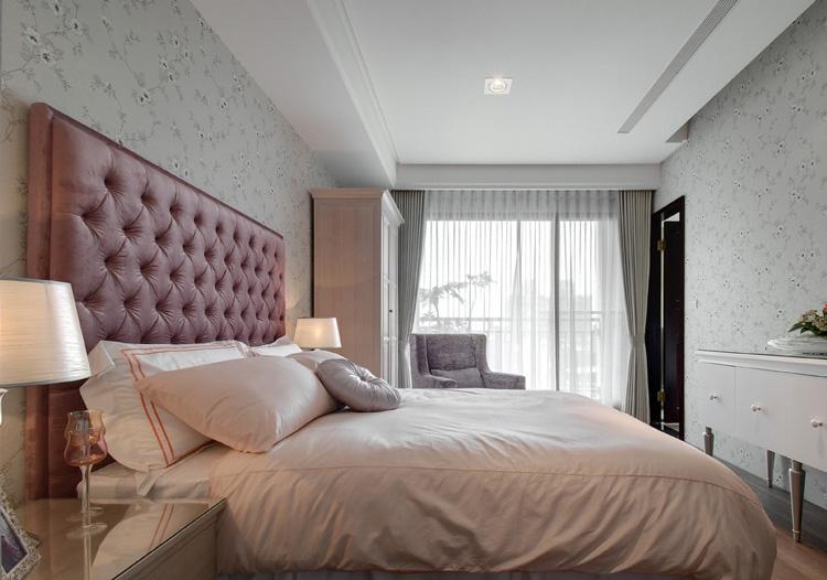 简欧粉色床头软包美图图片