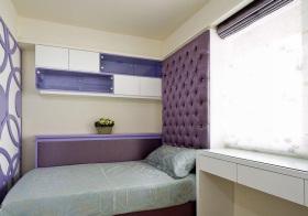 现代紫色床头软包设计
