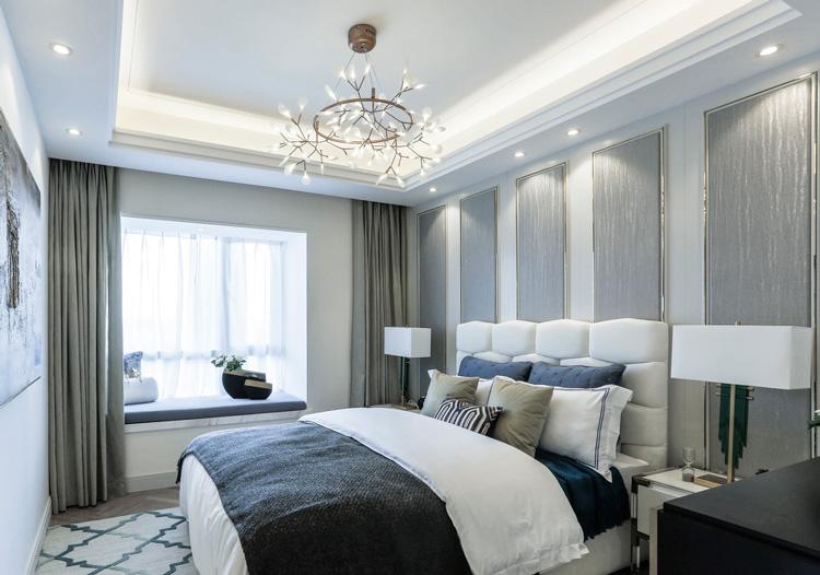 欧式银色床头软包美图