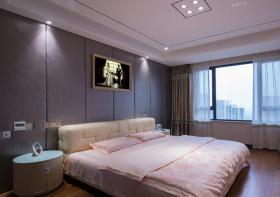 简欧深紫色床头软包设计