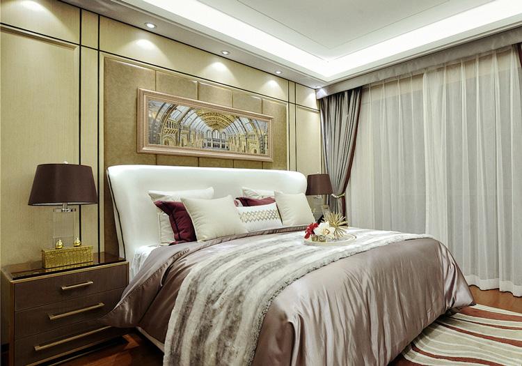 欧式灯光床头软包效果图