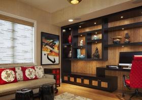 中式褐色书柜设计