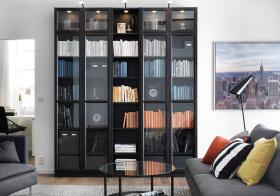 现代玻璃书柜美图