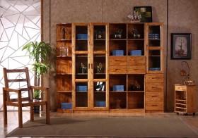 中式木质书柜效果图