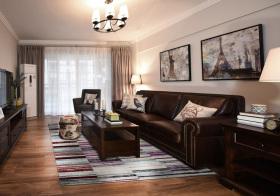 美式深褐色客厅设计