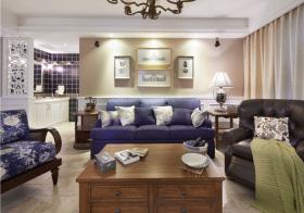 美式蓝色客厅欣赏