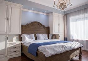 美式淡蓝卧室美图