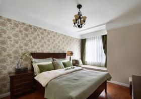 美式绿花卧室实景
