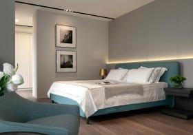 北欧蓝色卧室细节
