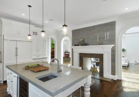 美式壁炉厨房美图