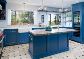 美式蓝色厨房美图