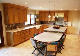 美式复古木质厨房实景