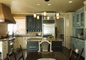 美式彩色厨房实景