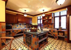 美式格纹厨房实景
