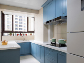 混搭蓝色橱柜厨房欣赏