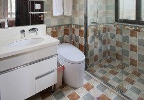 现代彩色格子卫生间细节