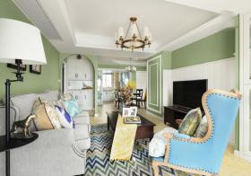 美式绿色客厅美图