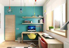 宜家蓝绿书房设计