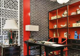中式砖头书房近景