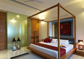 日系四柱床卧室设计