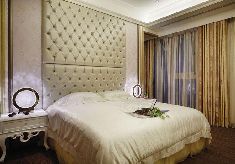 简欧床头软包卧室实景图片