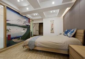 日系图画卧室背景墙设计