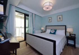 美式蓝色卧室美图欣赏