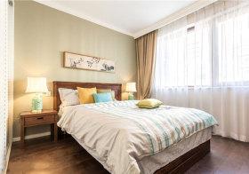 新中式条纹卧室实景