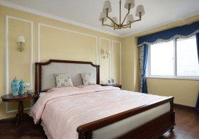 美式淡黄色卧室美图