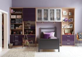 简约紫色儿童房效果图