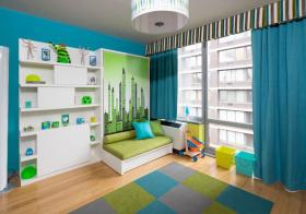 现代蓝绿儿童房欣赏